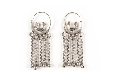 A PAIR OF SILVER EARRINGS WITH COCKS Russian, 19th