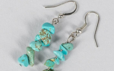 A Pair Of Pebble Turquoise Drop Earrings