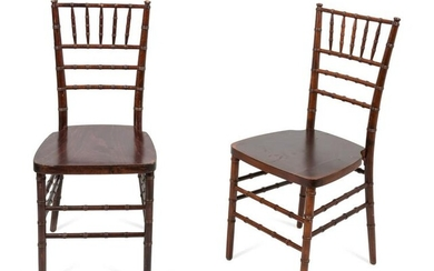 A Pair of French Mahogany Ballroom Chairs Height 36 x