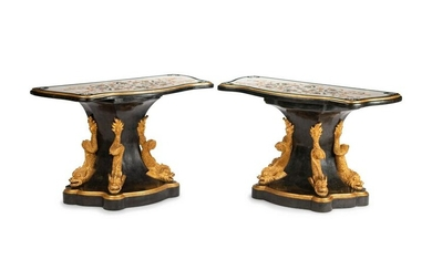 A Pair of Italian Empire Style Parcel-Gilt and Inlaid