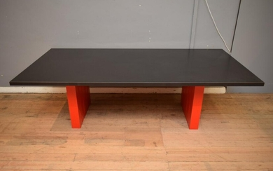 A SUBSTANTIAL CONTEMPORARY GRANITE TOP DINING TABLE (73H X 240W X 116D CM) (PLEASE NOTE THIS HEAVY ITEM MUST BE REMOVED BY CARRIERS...