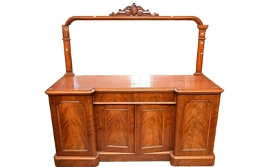 A VICTORIAN FLAME MAHOGANY AND CEDAR MIRROR BACKED SIDEBOARD (PLEASE NOTE THIS ITEM MUST BE REMOVED BY CLIENTS OR CARRIERS AT THE CU...