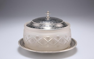 A VICTORIAN GLASS BUTTER DISH WITH SILVER LID, by