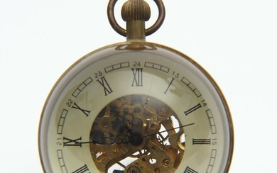 A VINTAGE GLASS AND BRASS BALL NOVELTY DESK CLOCK, 6 CM HIGH, LEONARD JOEL LOCAL DELIVERY SIZE: SMALL