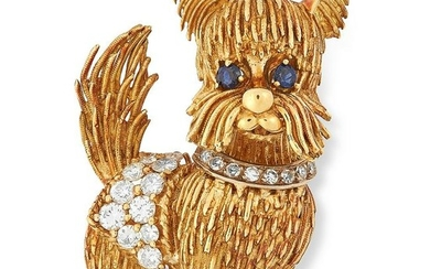 A VINTAGE SAPPHIRE AND DIAMOND DOG BROOCH, BEN