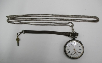 A Victorian silver cased pocket watch and a silver watch cha...