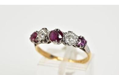 A YELLOW METAL RUBY AND DIAMOND FIVE STONE RING, designed wi...
