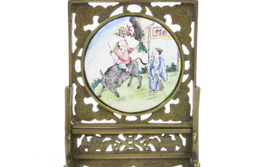 A bronze and Canton enamel small table screen