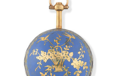 A continental gold and enamel key wind concealed ball form watch