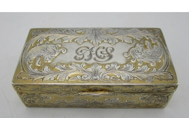 A continental sterling silver snuff box, of rectangular shap...