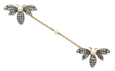 A diamond bee brooch, circa 1890
