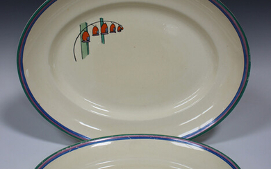 A graduated pair of Clarice Cliff Fantasque Solomon's Seal pattern oval meat dishes, impressed