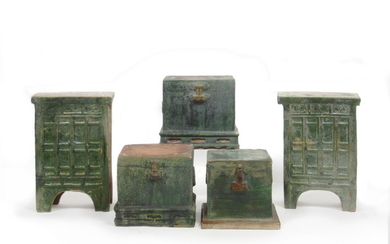 A group of glazed pottery funerary furniture