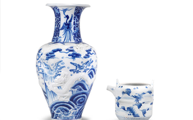 A large blue-and-white porcelain vase and a ewer