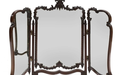 A mahogany triptych dressing table mirror