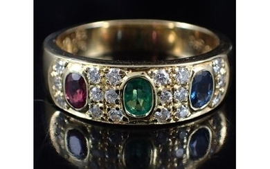 A mulit stone ring set with diamonds, estimated as emerald ....
