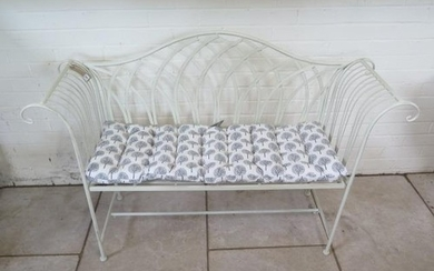 A new Ascalon cream painted metal work bench, with cushion -...
