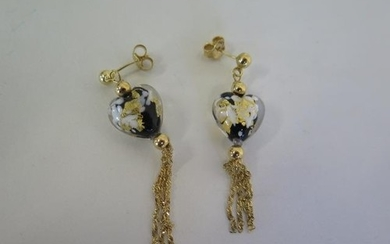 A pair of 9ct drop earrings, set with Murano style glass hea...