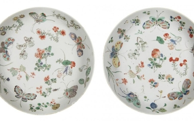A pair of Chinese porcelain dishes, Kangxi period, painted in...