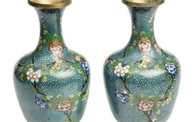 A pair of chinese Cloisonné enamel Pear-Shaped