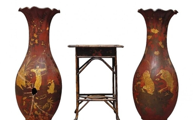 A pair of large Continental earthenware baluster...