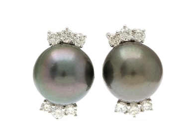 A pair of pearl and diamond ear pendants each set with a cultured Tahiti pearl and six brilliant-cut diamonds, mounted in 18k white gold. (2)