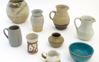 A quantity of assorted studio pottery wares to include