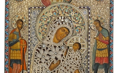 A rare silver-gilt, niello, cloisonné enamel and seed pearl icon of the Jerusalem Mother of God, A.M. Postnikov partnership, Moscow, 1892