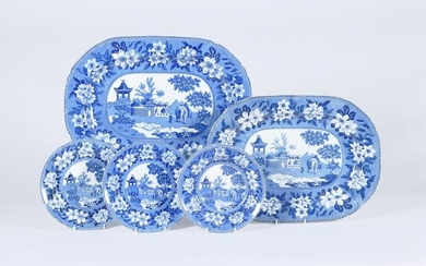 A selection of Rogers blue and white printed pearlware 'Elephant' pattern
