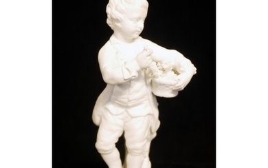 AN 18TH CENTURY DERBY BISCUIT PORCELAIN FIGURE, A YOUNG BOY ...