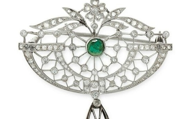 AN ANTIQUE EMERALD AND DIAMOND BROOCH, CIRCA 1900 in