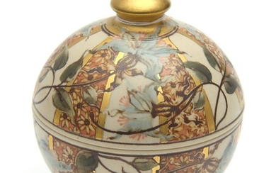 AN AUSTRALIAN HANDCRAFTED CERAMIC LIDDED BOX BY PETER MINKO, CIRCULAR SHAPE WITH DOMED COVER AND ROUND FINIAL, THE BASE AND TOP HAND...