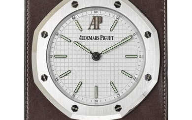 AUDEMARS PIGUET | ROYAL OAK, A STAINLESS STEEL AND LEATHER TABLE CLOCK, CIRCA 2010