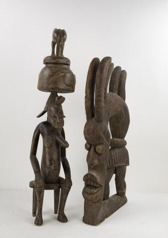 African Carved Wood Fertility Figure & Headdress
