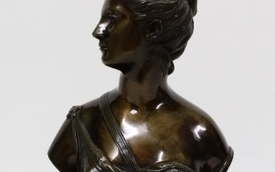 """After Jean Antoine Houdon - Bust, """"Diane Huntress"""" - Bronze - Late 19th century"""