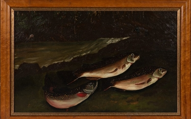 American School (late 19th century) Three Trout on a Bank