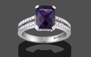 An 18 Carat White Gold Amethyst and Diamond Ring, the...