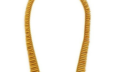 An 18 Karat Yellow Gold and Diamond Fringe Necklace,