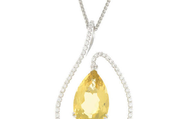An 18ct gold heliodor and brilliant-cut diamond pendant, with 18ct gold chain.