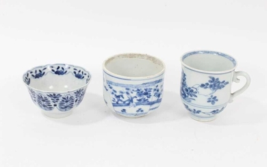 An 18th century Chinese blue and white tea bowl, a beaker and a bowl