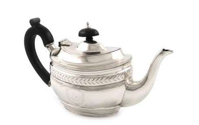 An Edwardian silver bachelor~s teapot, by Nathan and...