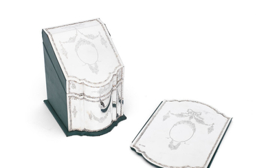 An Edwardian silver-mounted note box and blotting pad