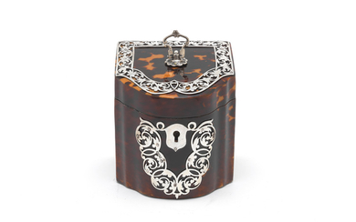 An Edwardian silver-mounted tortoiseshell tea caddy