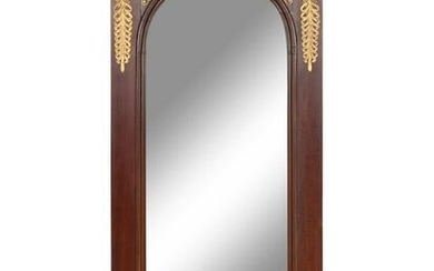 An Empire Style Gilt Metal Mounted Mahogany Mirror and