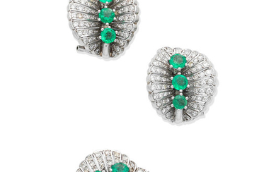 An emerald and diamond ring and earring suite