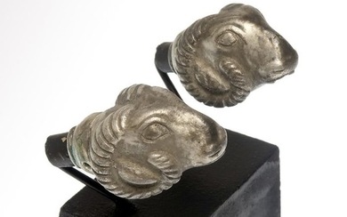 Ancient Greek Silver Two Heads of Rams Terminals