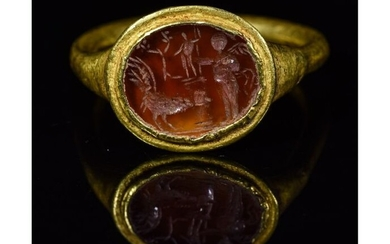 Ancient Roman Gold Intaglio Ring with Apollo, Rooster and Victory