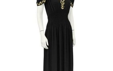 Anon Black moss crepe and gold thread evening dress