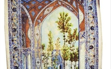 Antique Beautiful Fort & Trees Silk Carpet Wall Hanging