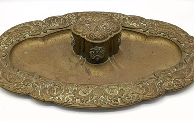 Antique Brass Desk Tray with Quatrefoil Inkwell. Heavy